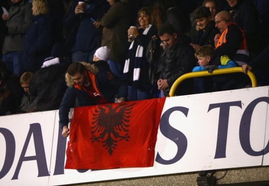 Supporters in the home end unveiled an Albanian flag in the stands