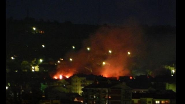 Albanian houses burned by the Macedonian police and army in ethnically mixed town of Kumanovo