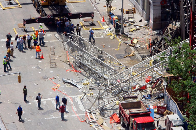 The scene of the crane collapse on the Upper East Side in 2008.