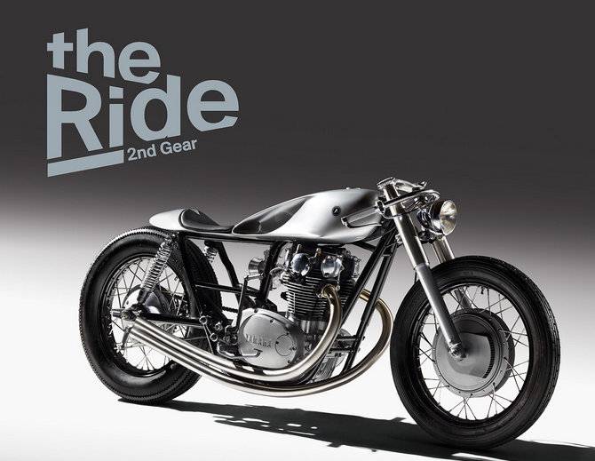 """A custom made motorcycle designed and build by two British-Albanian industrial designers, Gazmend dhe Bujar Muharremi, has made it onto the front cover of the """"The Ride 2nd Gear"""" book."""