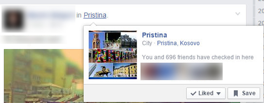 Pristina location listing on Facebook