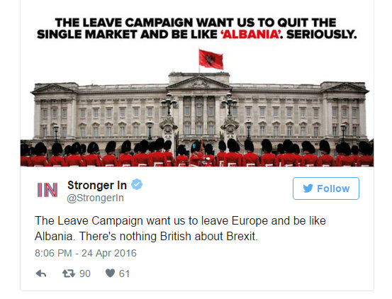 Albania mocking advert was produced which the Remainers have pushed out with glee on social media.