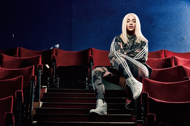 """Rita Ora in a look from her Adidas Originals """"Asian Arena"""" collection."""