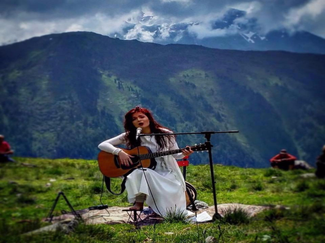 Singer Elina Duni with beautiful Albanian lanscape as a background. Photo: Facebook/Emmanuelle Nemoz