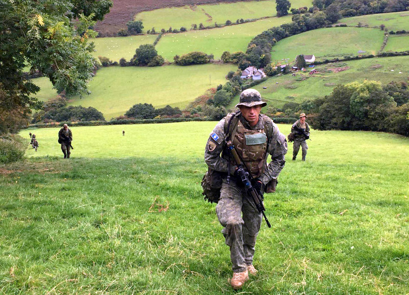 A Kosovo Security Force unit patrolling in Wales, October 2016