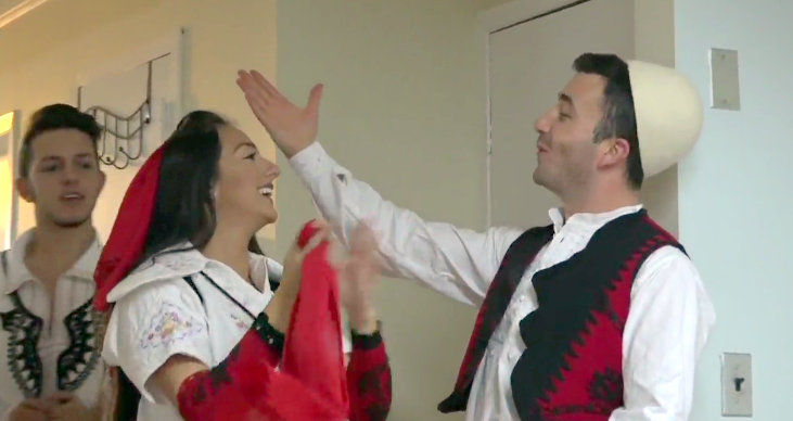 Members of Epos Dance Ensemble in New York, perform a traditional Albanian Dance