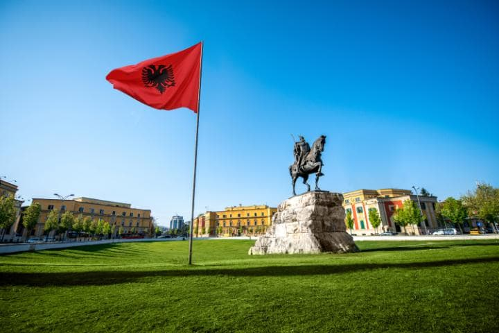Skanderbeg Square, Tirana: Not everyone's idea of a spring break, the Albanian capital will surprise you with its charm, says Mark Hillsdon CREDIT: RH2010 - FOTOLIA