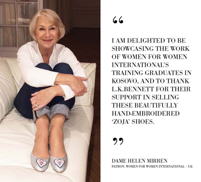Dame Helen Mirren with Kosovo embroidered shoes