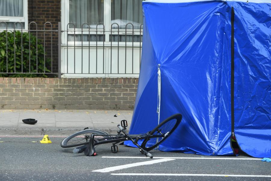 The scene of the crash in Camden Road on Tuesday morning. (Jeremy Selwyn)