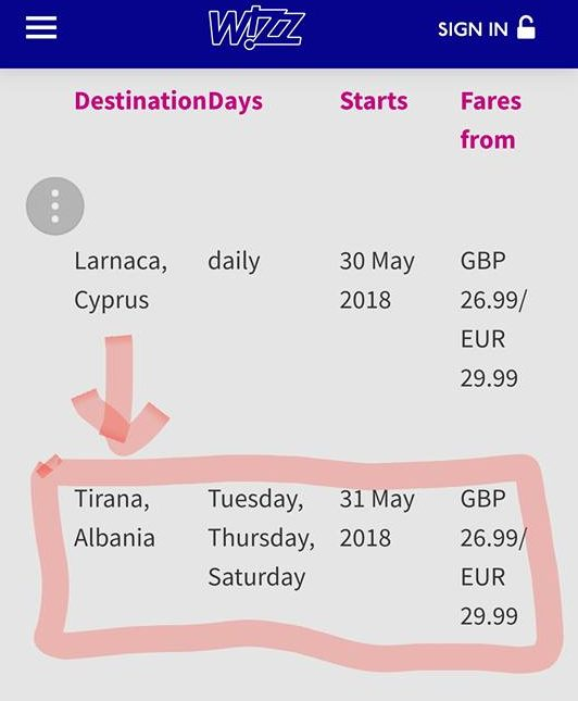Wizz Air flights from London to Tirana