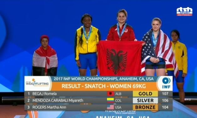 Albania's Romela Begaj won gold and silver at the World Weightlifting Championships in Anaheim, USA
