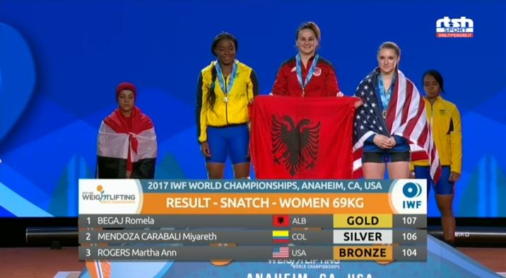Romela Begaj wins gold at the 2017 World Weightlifting Championships