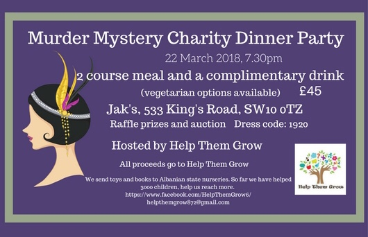 Murder Mystery Charity Dinner Party, London, 22 March 2018