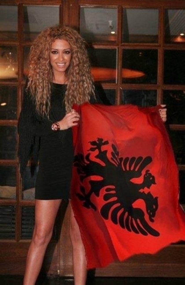 Eleni Foureira with an Albanian flag
