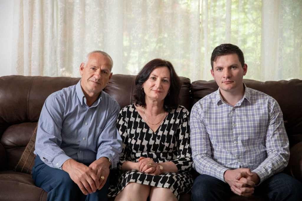 Rustem Kazazi. left, at home with wife Lejla and son Erald in Parma Heights, Ohio. (Institute for Justice)