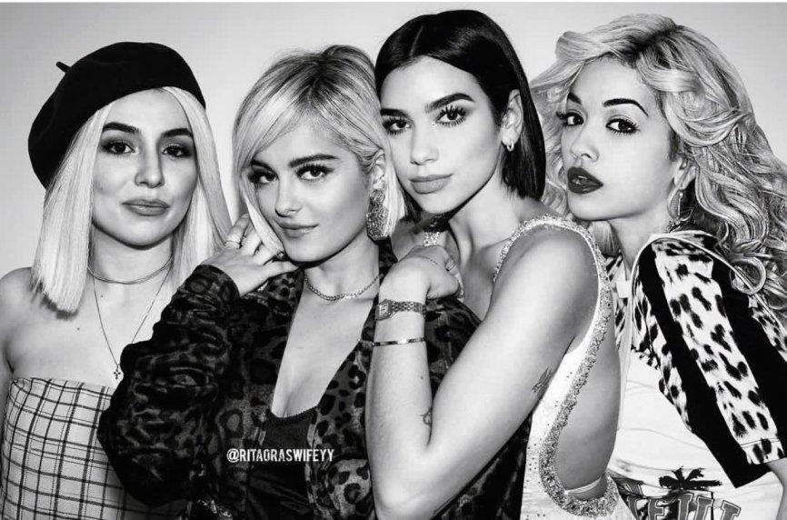 Ava Max, Bebe Rexha, Dua Lipa and Rita Ora photo montage