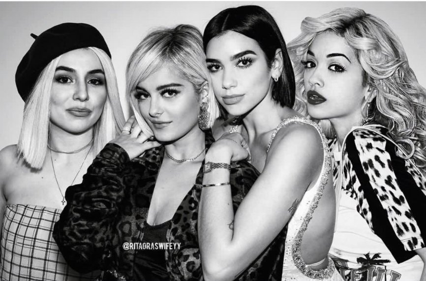 Ava Max, Bebe Rexha, Dua Lipa and Rita Ora photo montage
