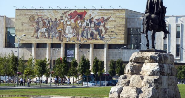 The National History Museum in Tirana, Albania, a city full of socialist realist art. Photograph: Getty Images