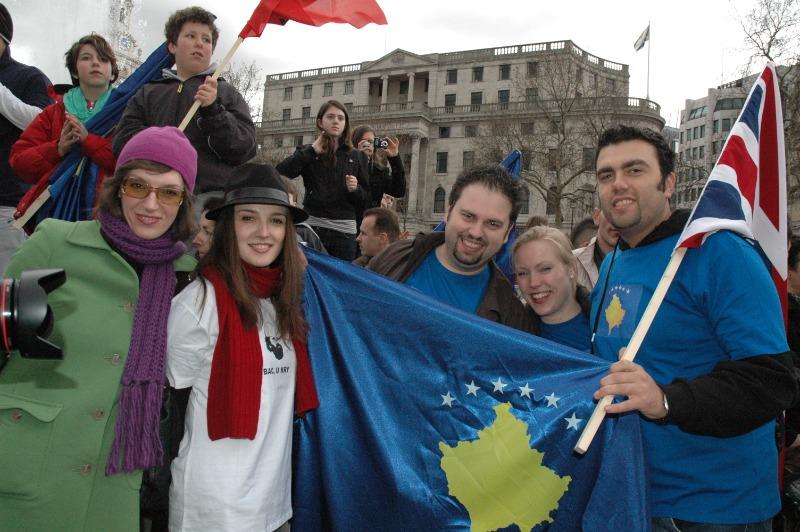 British Albanians celebrating Kosovo's 1st Independence Anniversary, Trafalgar Square, London, 17 February 2009