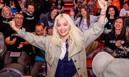 Rita Ora has returned back to Kosovo on a humanitarian mission with Soccer Aid