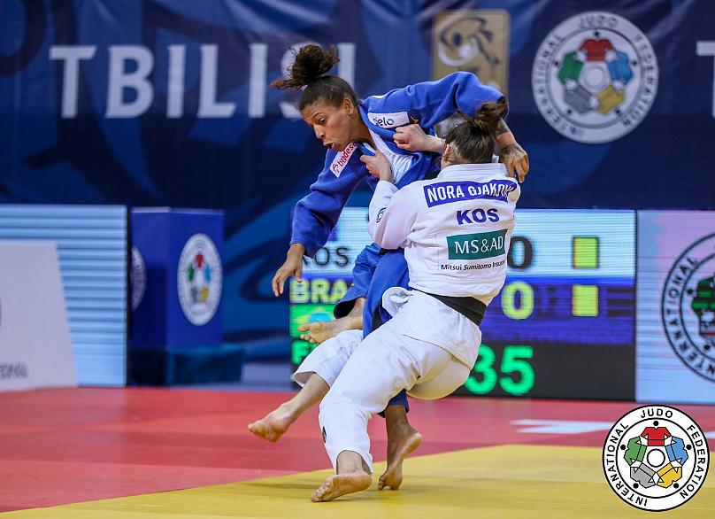 En route to fifth Grand Prix success: Nora Gjakova of Kosovo defeated Rafaela Silva of Brazil in the -57kg final to take the gold medal