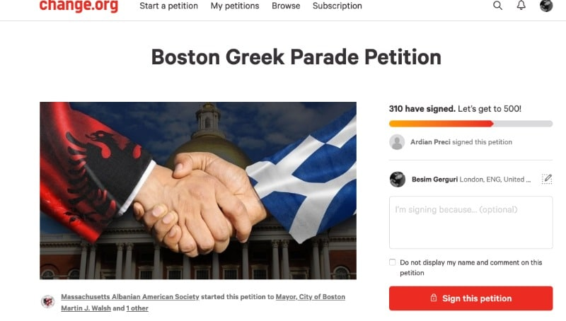 Massachusetts Albanian American Society petition