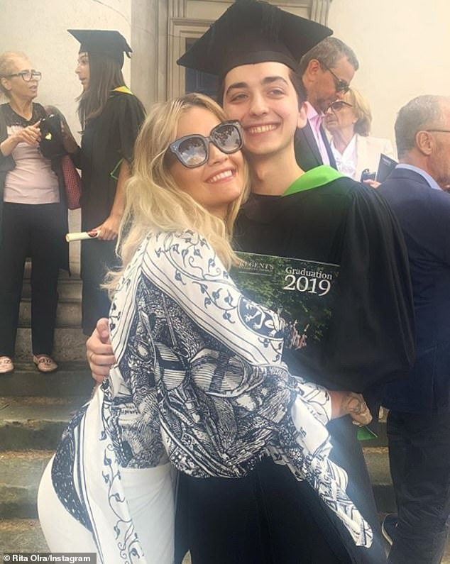 Graduation: Rita Ora was celebrating the success of her younger brother as he graduated from university in London on Friday