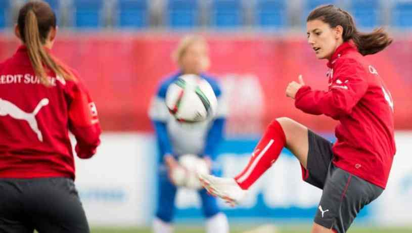 Florijana Ismaili pictured in a training session for Switzerland. Photograph: Geoff Robins/AFP/Getty Images