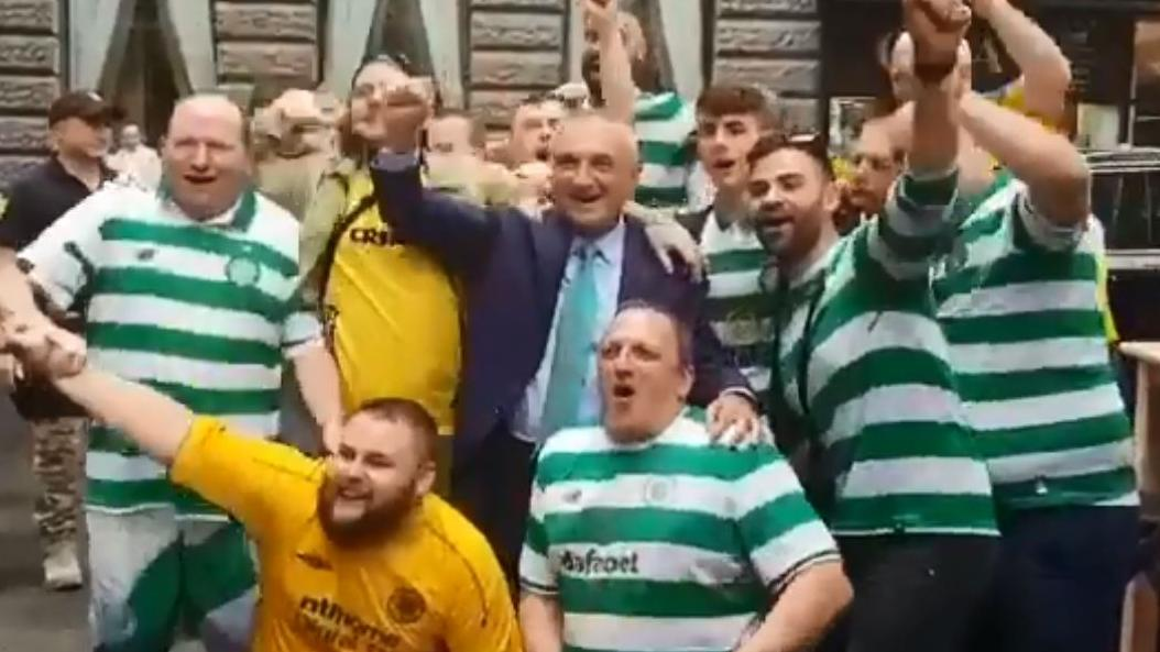 "Albanian president shows he's just one of the Celtic ""bhoys"""