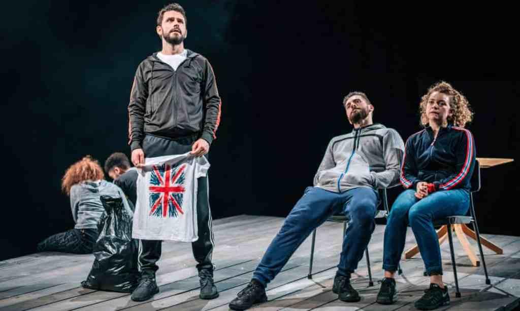 Dritan Kastrati (centre left), Daniel Cahill and Esme Bayley in How Not to Drown. Photograph: Mihaela Bodlovic