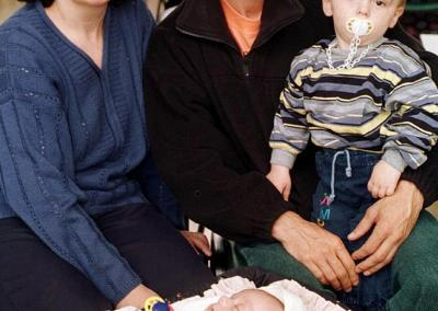 Nijazi and Ajashe Arifi with their children Argneta, two and baby Veton at the Ulverston refugee centre in May 1999.