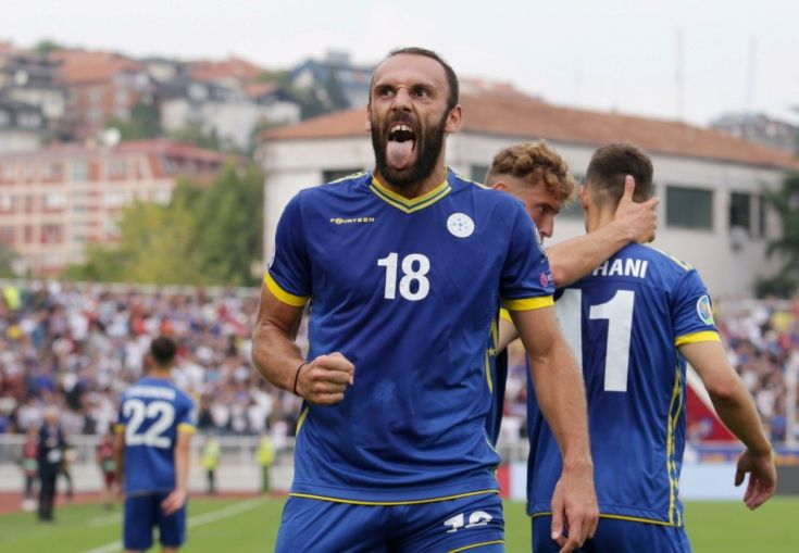Vedat Muriqi celebrates Kosovo's first goal against the Czech Republic (Reuters)