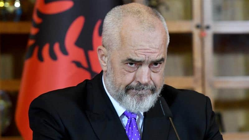 Albania's Prime Minister Edi Rama gives a news conference in Tirana after a EU Council in Brussels failed to agree on opening accession negotiations with Albania and North Macedonia [Gent Shkullaku/AFP]