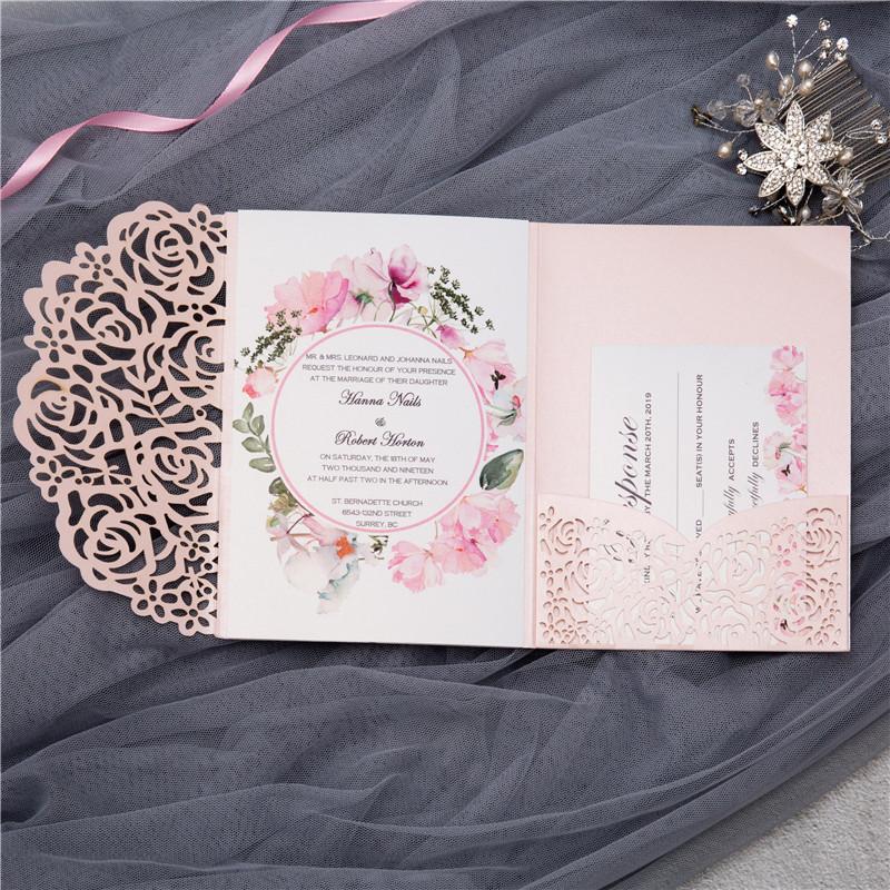 Lasercut Pocket Fold Einladungen Zur Hochzeit Wpfc2122