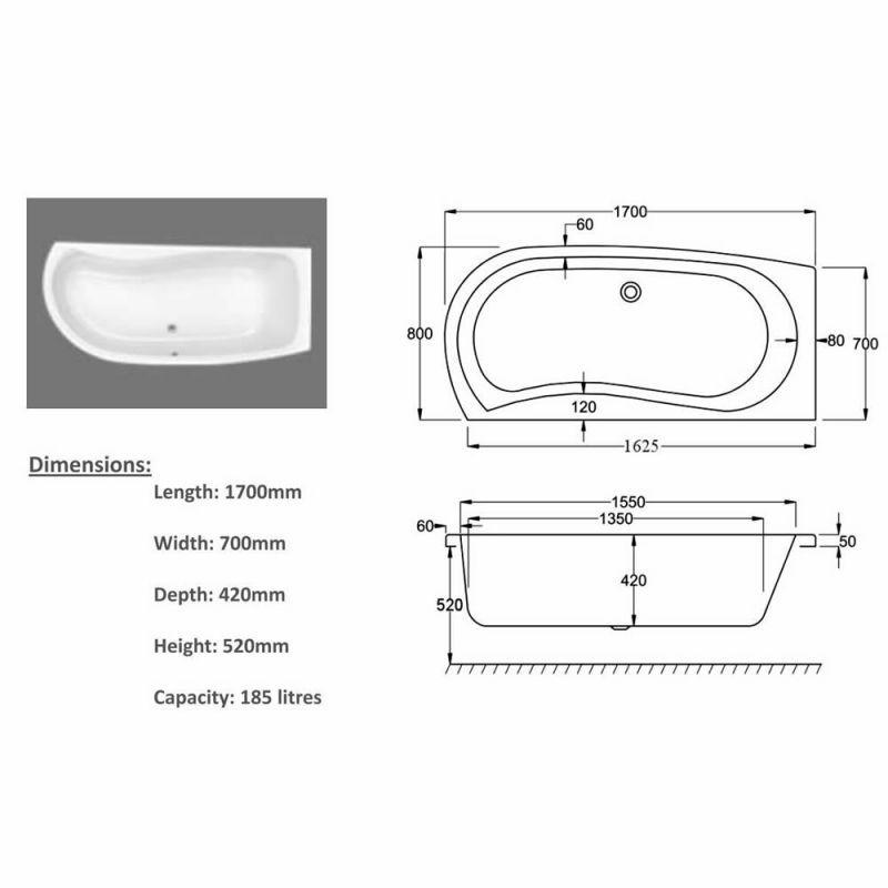 Carron Agenda 1700 x 700mm Corner Offset Shower Bath : UK