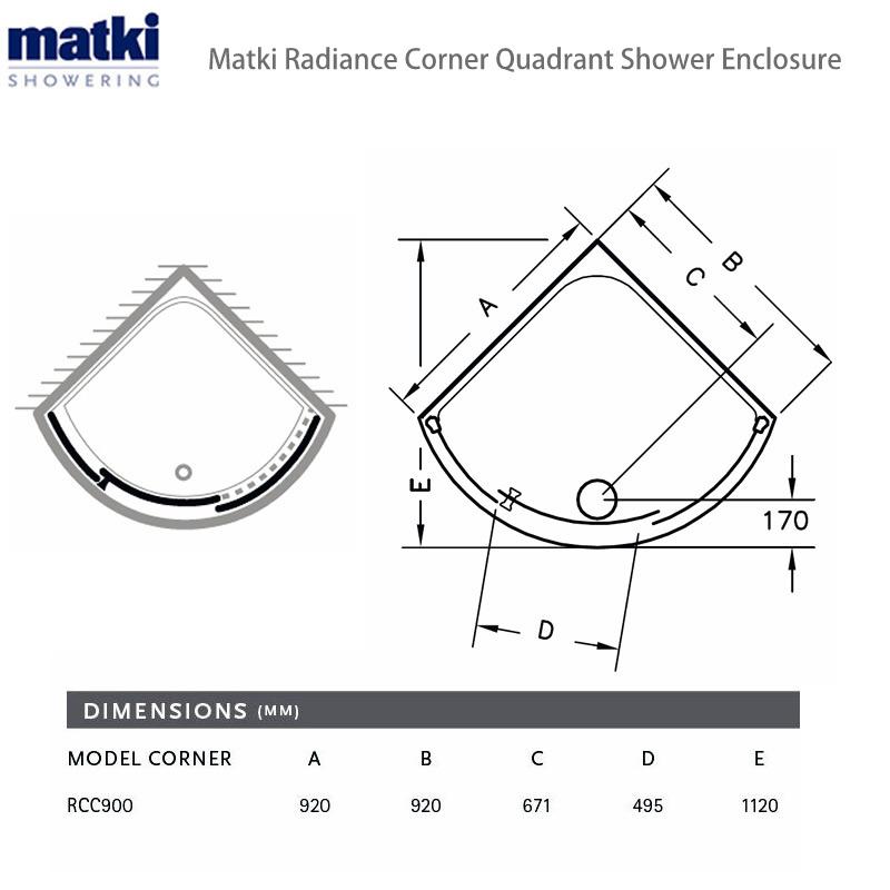 Matki Radiance Curved Corner Shower Enclosure : UK Bathrooms