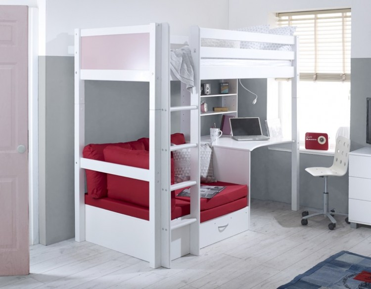 Flexa Nordic Highsleeper Bed 3 With Rose Colour End Panels Desk And Red Sofabed By Thuka