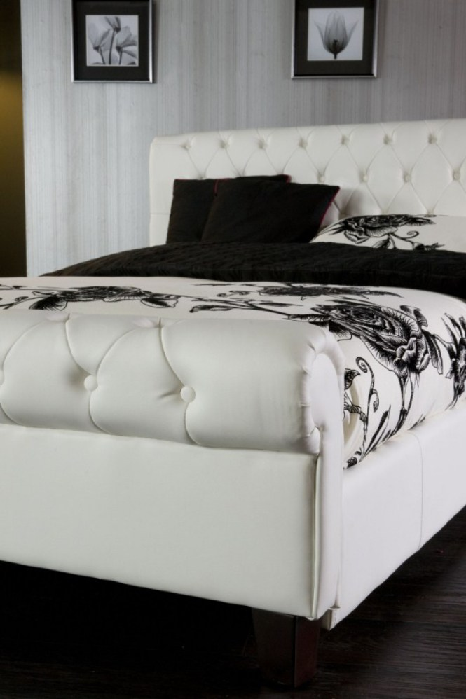 Limelight Phoenix White 4ft6 Double Faux Leather Bed Frame