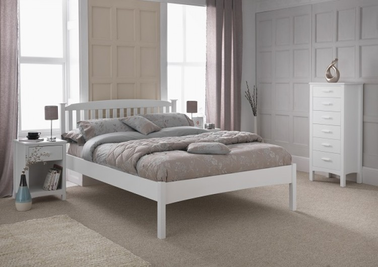 Serene Eleanor 4ft Small Double White Wooden Bed Frame