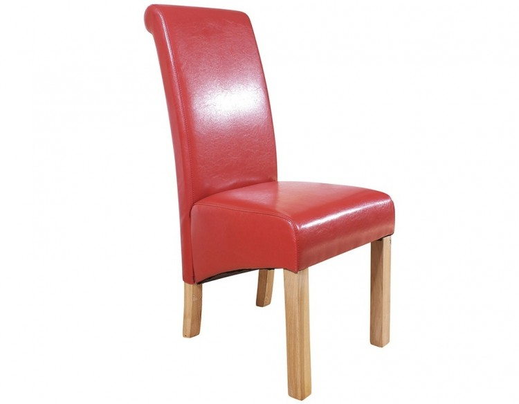 GFW Hudson Pair Of Red Faux Leather Dining Chairs by GFW