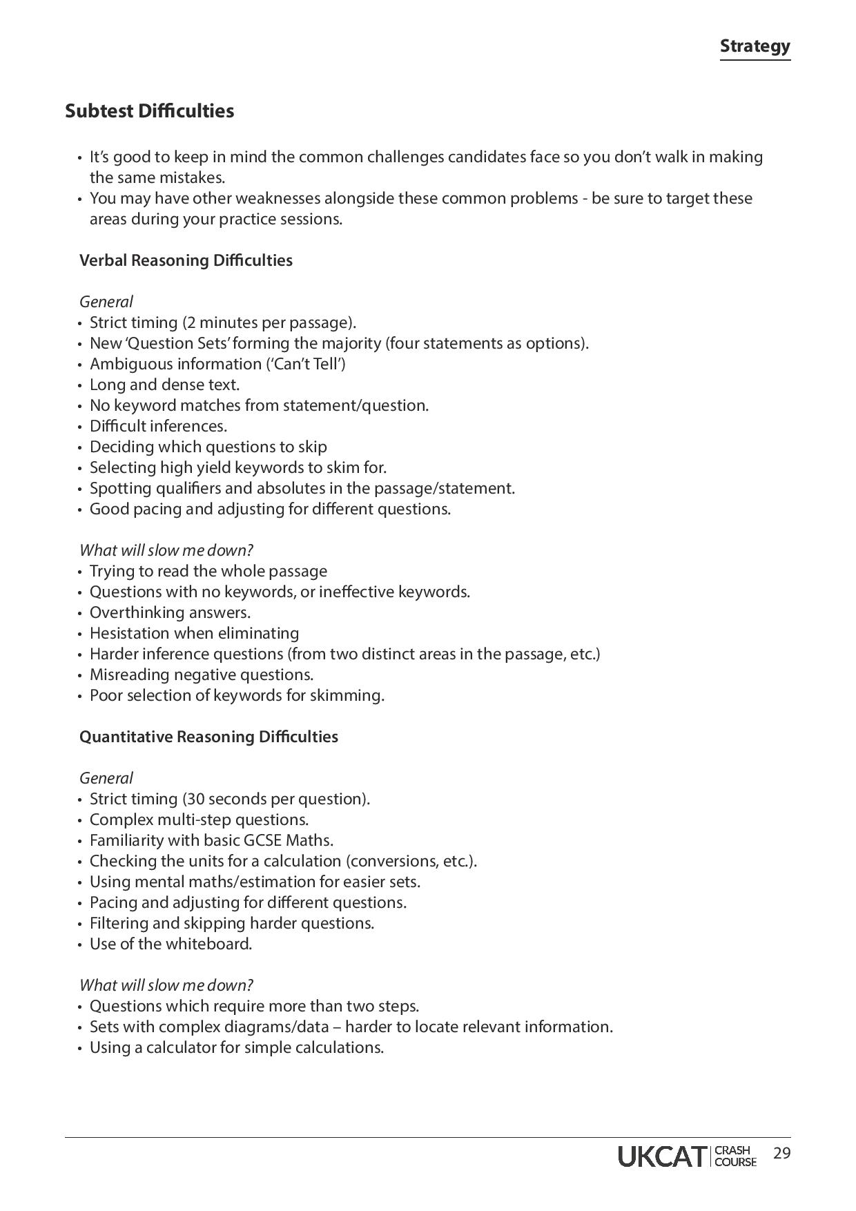 UKCAT Crash Course Handbook page 29