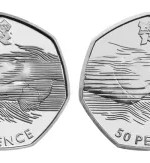Swimming 50p error coin