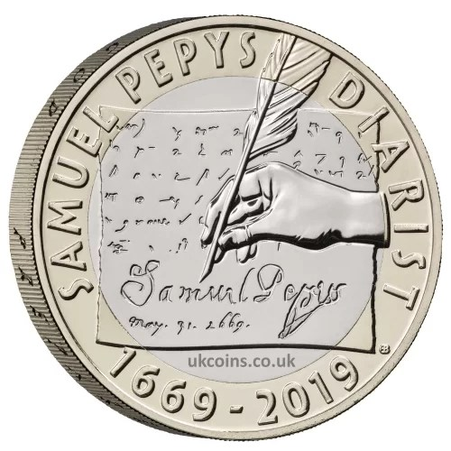 samuel pepys two pound coin