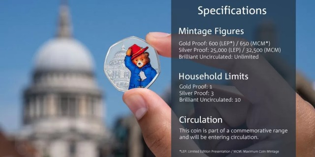 paddington 50p mintage figures
