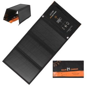 21W Foldable Solar Charger Waterproof Sun Power Panel Charge Dual USB Ports Portable Power Source