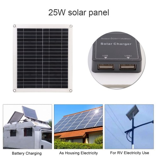 25W 5V Portable Double USB Port Flexible High Efficiency Sunpower Polycrystalline Solar Panel Power Kit with Controller