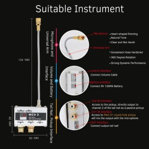 Acoustic Guitar Microphone + Sound Hole Dual Pickup System Active Pick-up Transducer for Folk Guitars