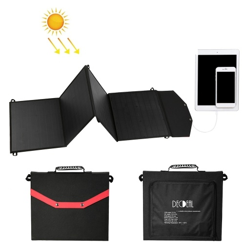 Decdeal Portable Foldable 80W Collapsible Solar Panel Charger with 2 USB Ports