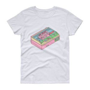 80S Trash Vcr Women's T-Shirt - Toploading Design Printed On Demand Retro Technology Stuff Pastel Colours Vhs Video Recorder