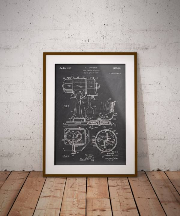 Food Handling Apparatus Patent Poster, Processor Print, Kitchen Robot Decor, Gift For Cook, Home , Iap0242